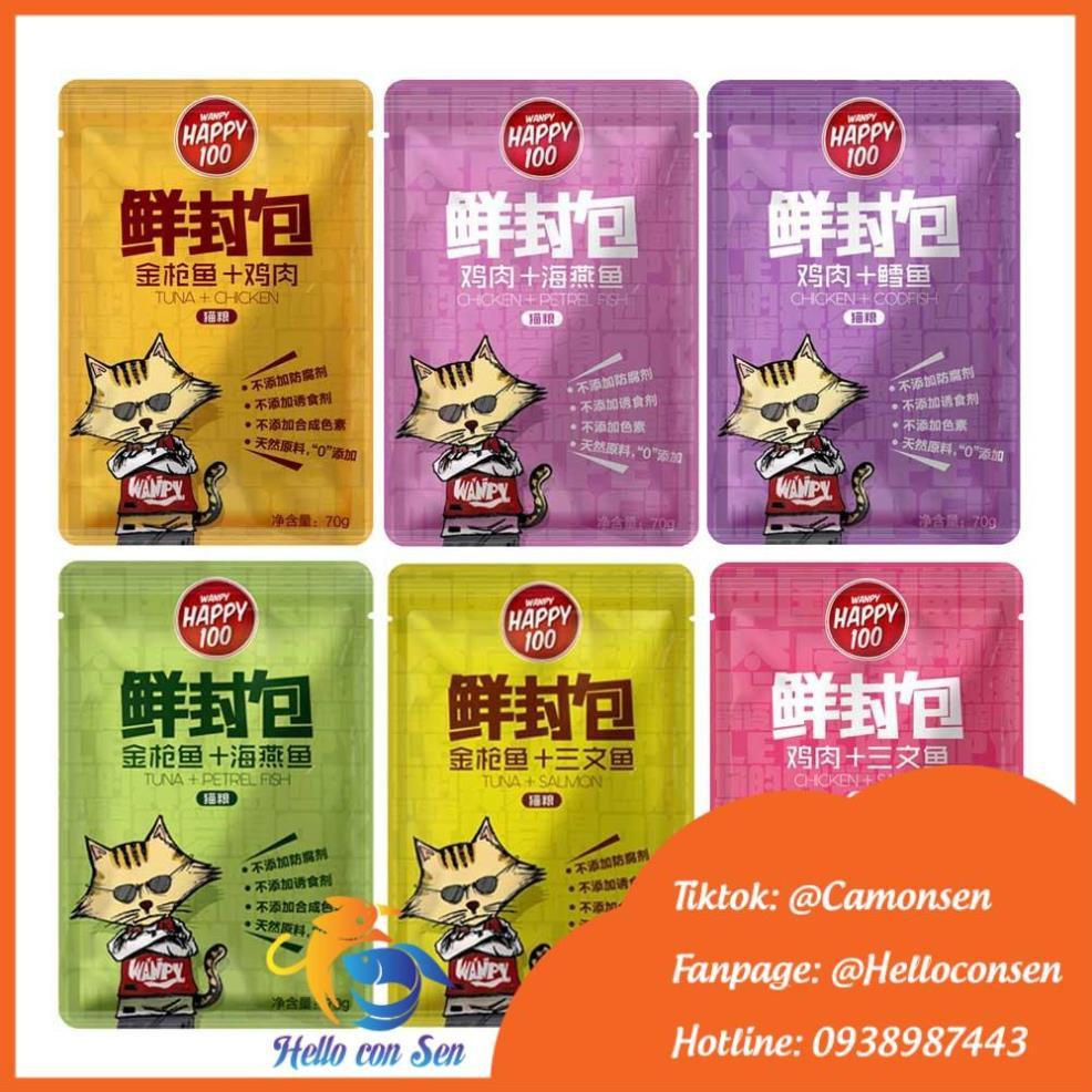 [QUẬN 2]Pate WANPY HAPPY 100 cho mèo gói 70g pate mèo Thức an cho mèo