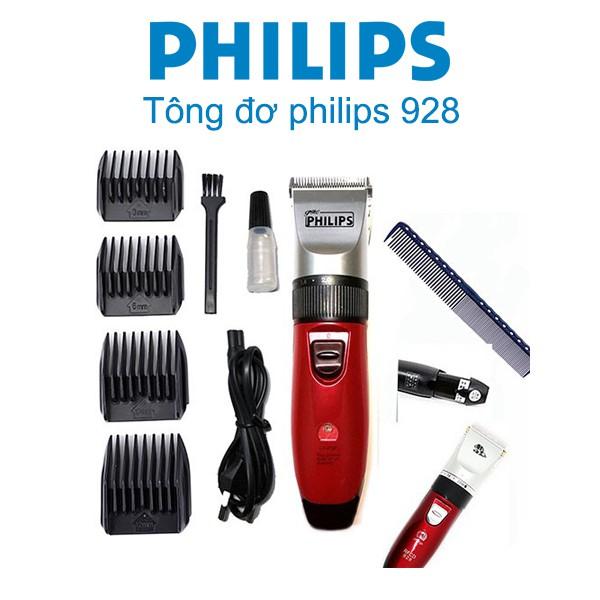 Tông đơ cắt tóc Philips 928 chính hãng cao cấp - Bộ có sẵn 2 pin sạc, cắt êm, bén giá rẻ